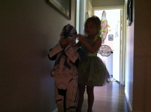 Tinkerbell helping the trooper get...