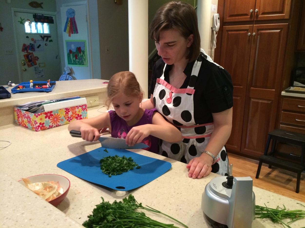 Making lasagna with mom