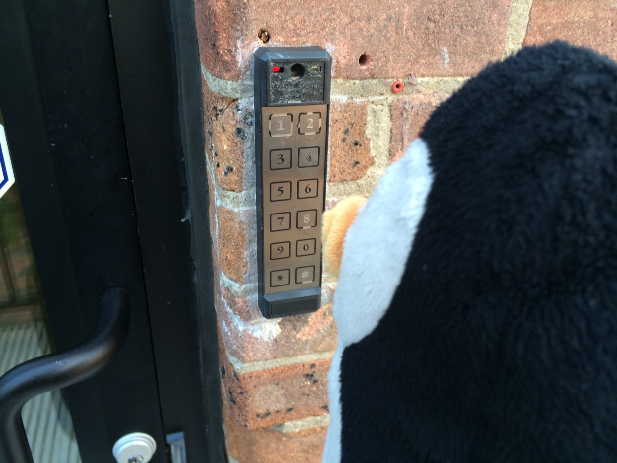 Punching in the door code after a nice afternoon walk