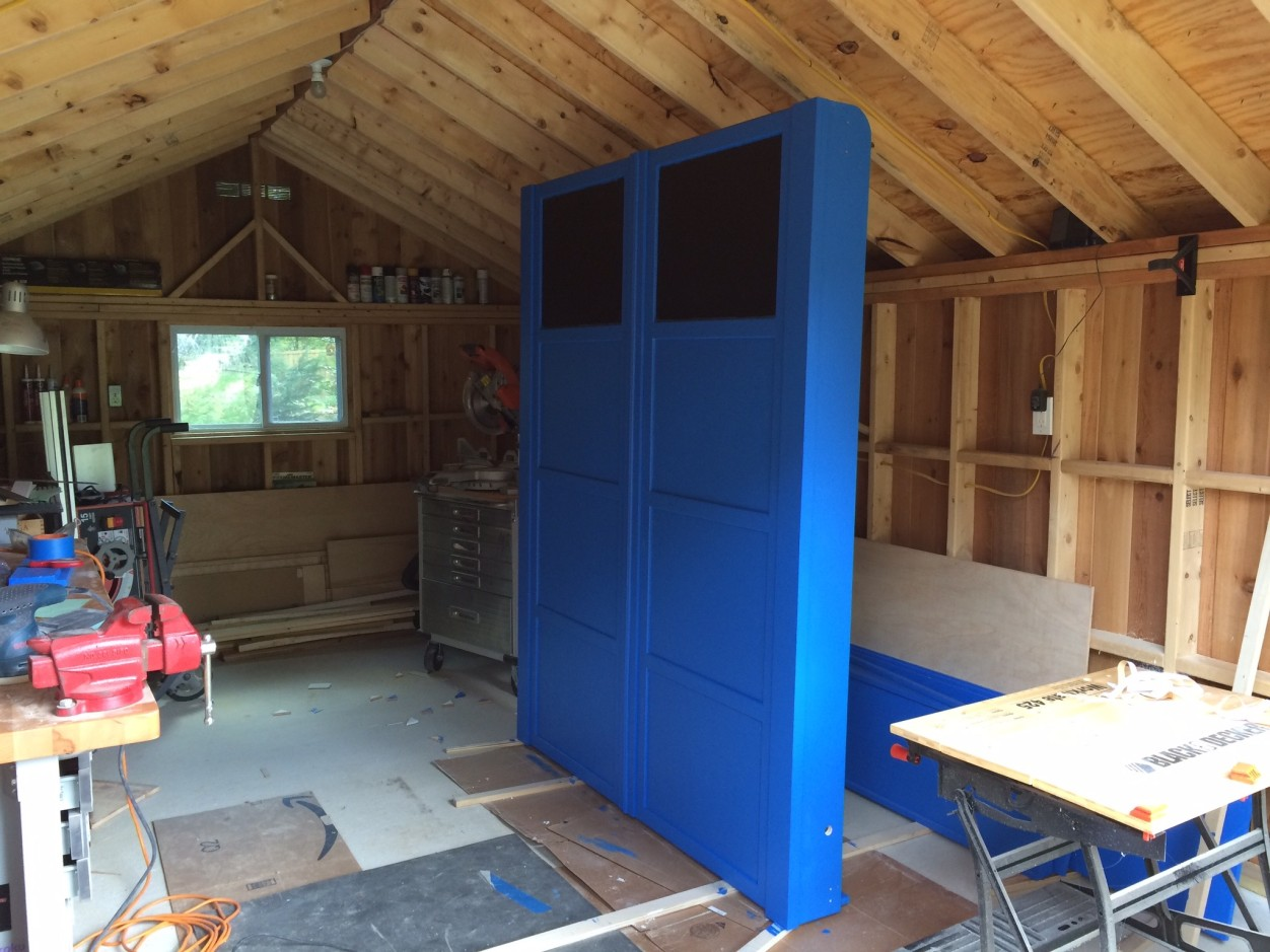 Starting to look like a TARDIS as I add trim. So many coats of paint at this point.